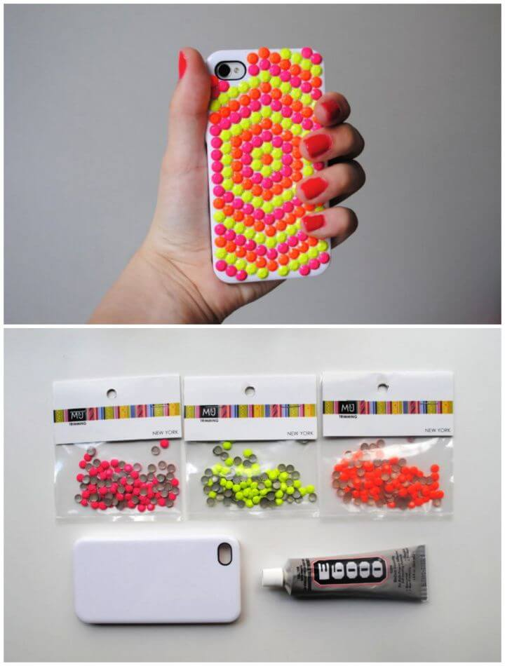 Easy DIY Neon Studded Phone Case 1