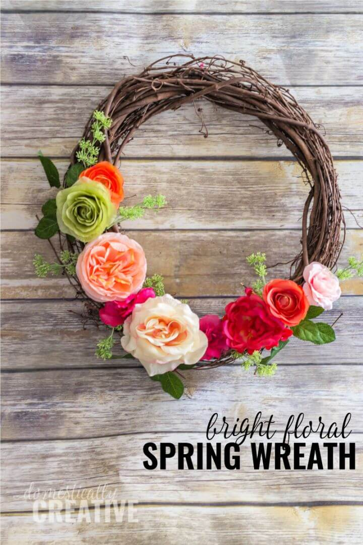 Easy DIY Spring Floral Door Wreath