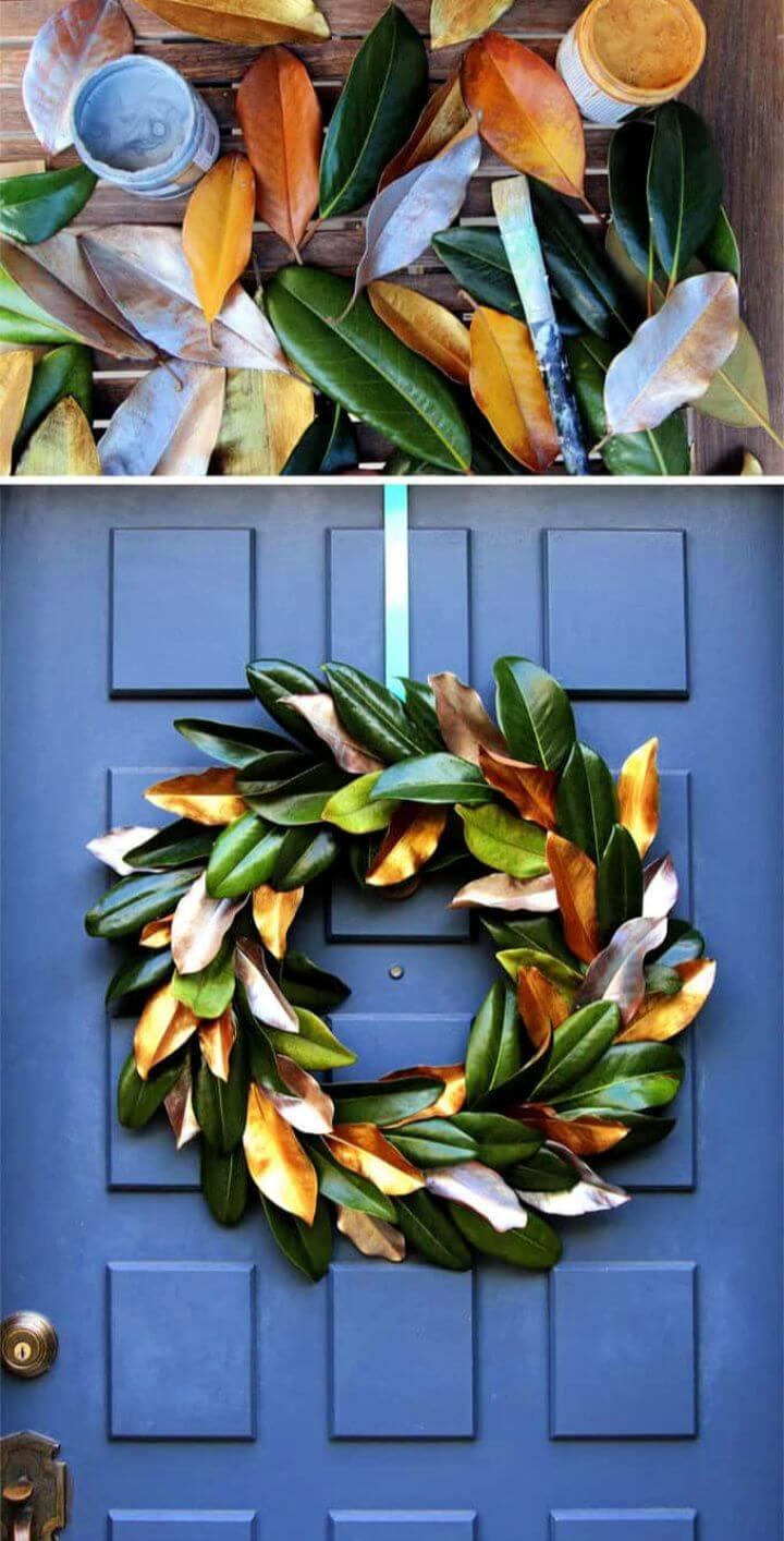 Easy Free DIY Magnolia Wreath