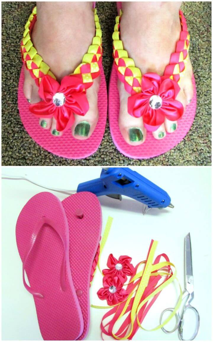 How To Build A DIY Braided Ribbon Flip Flops Tutorial