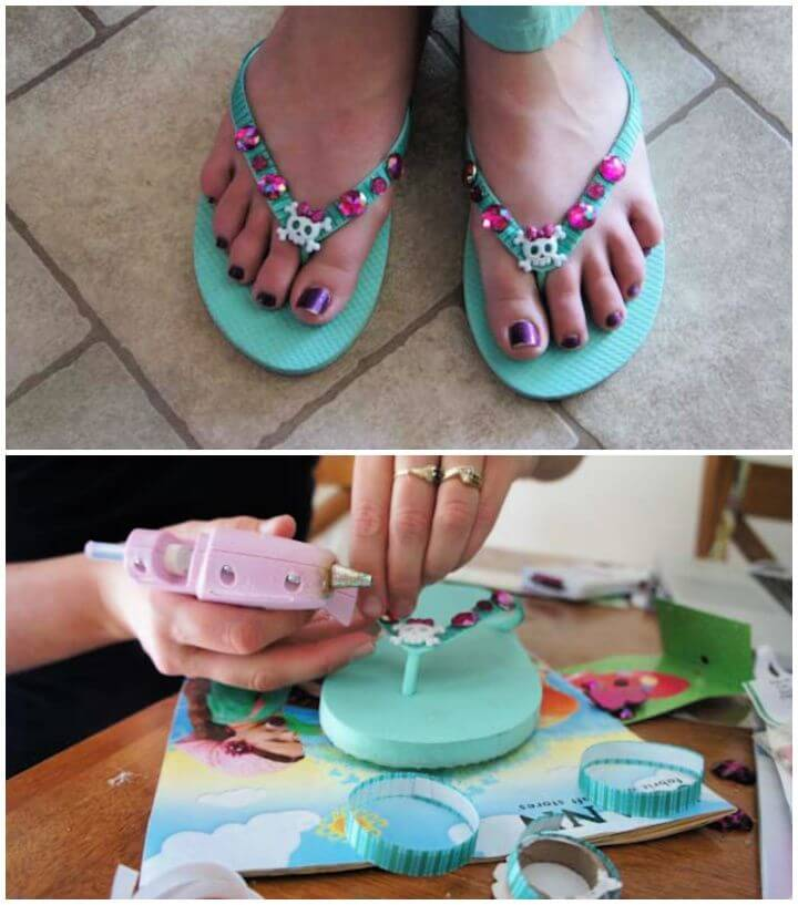 How To DIY Embellished Flip Flops