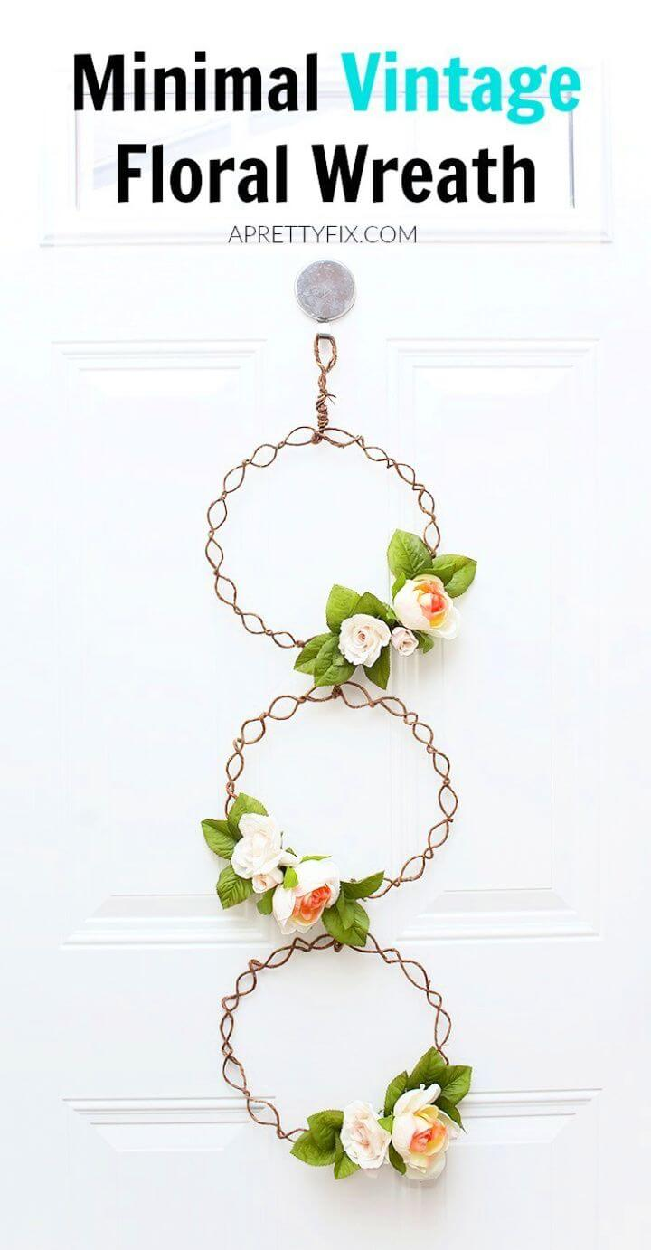 How To DIY Minimal Vintage Floral Wreath