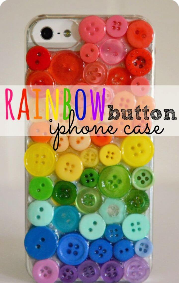 How To DIY Rainbow Button Iphone Case 1