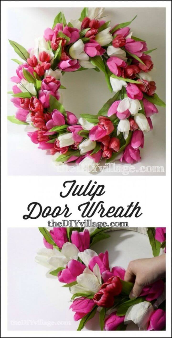 How To DIY Tulip Door Wreath