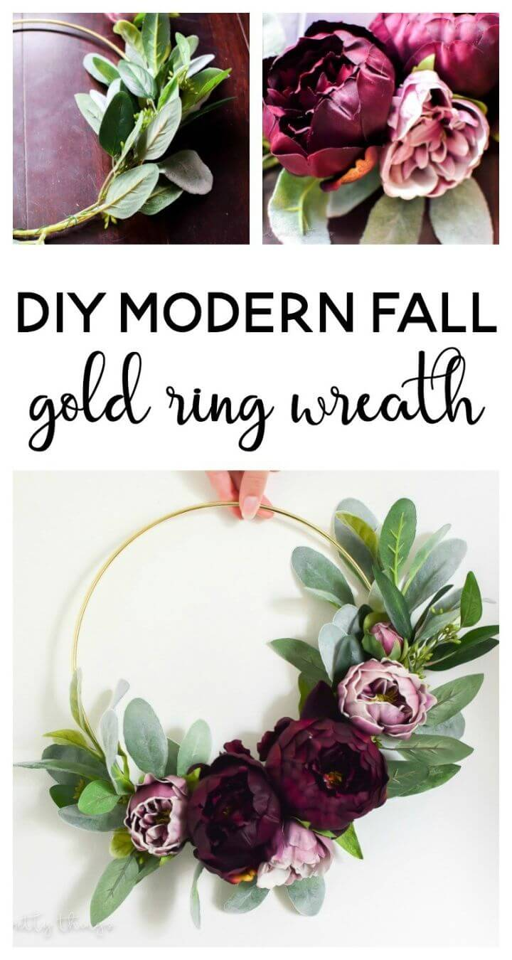Make A DIY Modern Fall Gold Ring Wreath