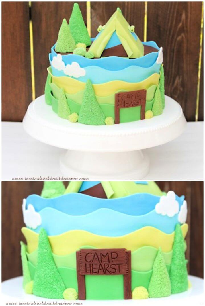 Simple DIY Camping Tent Baby Shower Cake and Tutorial