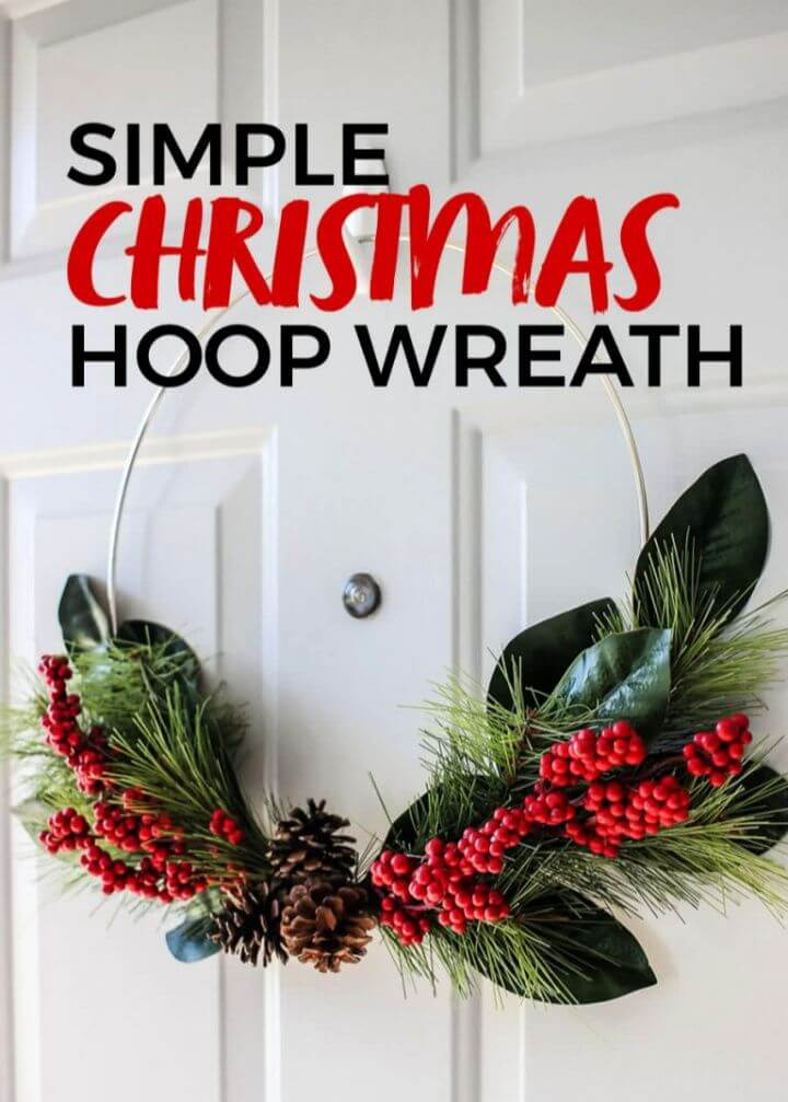 Simple DIY Christmas Hoop Wreath