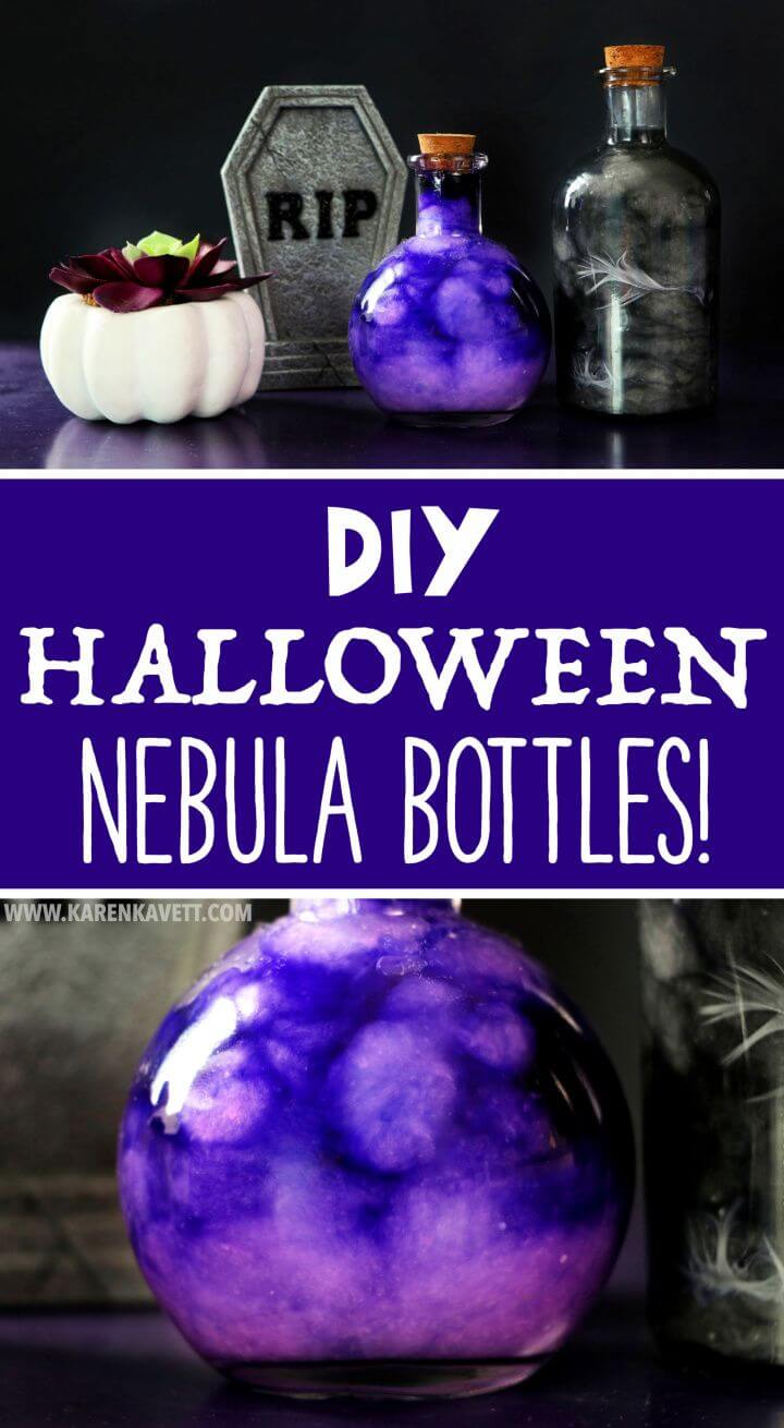 Simple DIY Halloween Nebula Potion Bottles