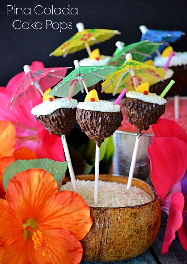 Simple DIY Pina Colada Cake Pops