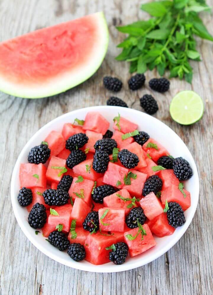 Watermelon Blackberry and Mint Salad