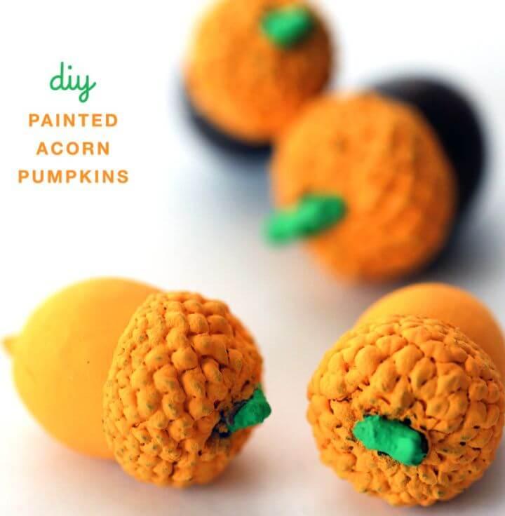 Beautiful DIY Painted Pumpkin Acorns