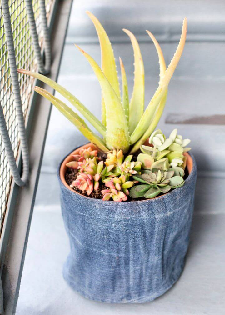 Best DIY Denim Flower Pot Cover