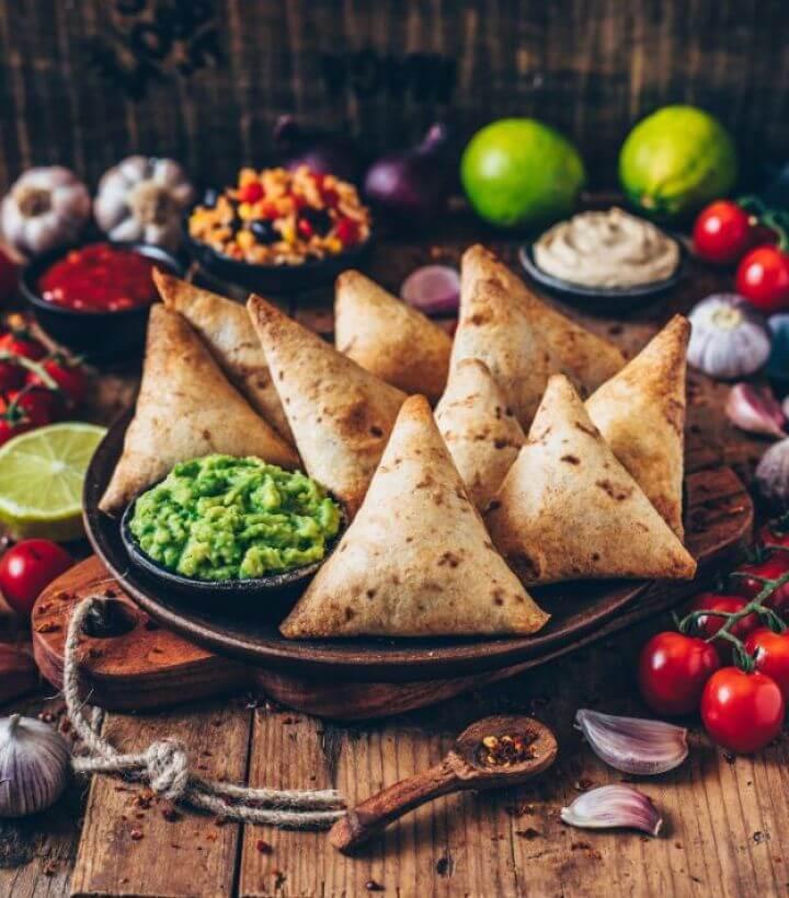 Best DIY Vegan Burrito Samosas With Guacamole