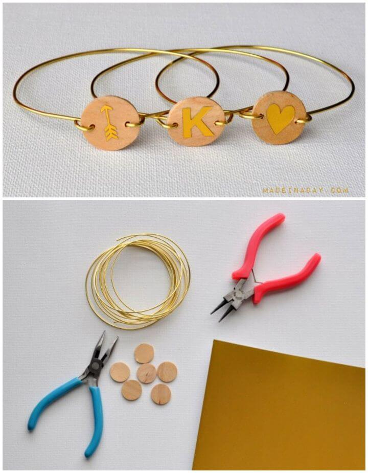 Create A DIY Wood Monogram Wire Bracelet
