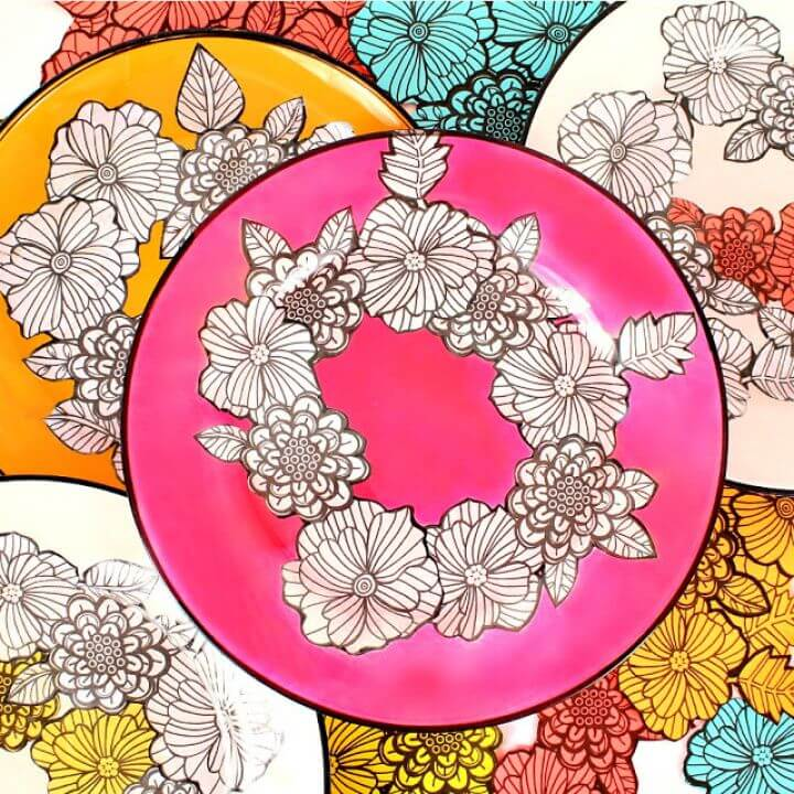 Cute DIY Adult Coloring Book Dishes
