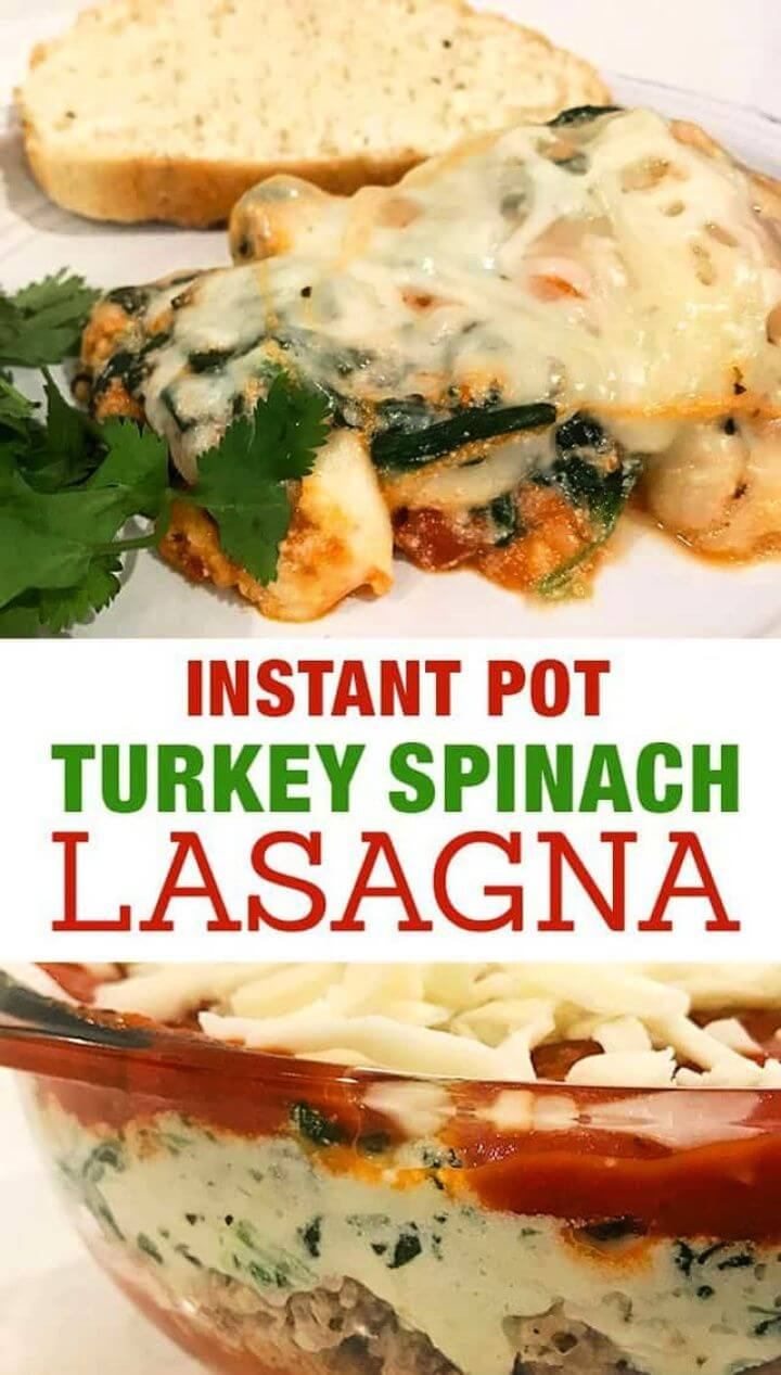Cute DIY Ground Turkey Spinach Instant Pot Lasagna 2