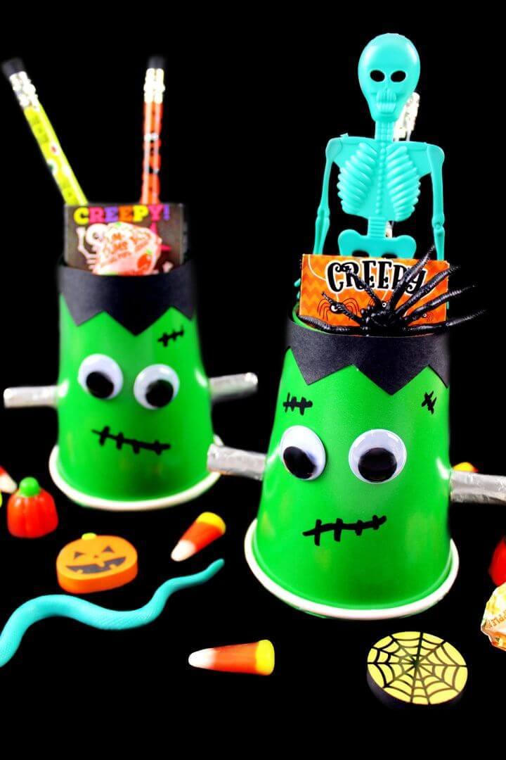 Cute DIY Halloween Frankenstein Treat Cups