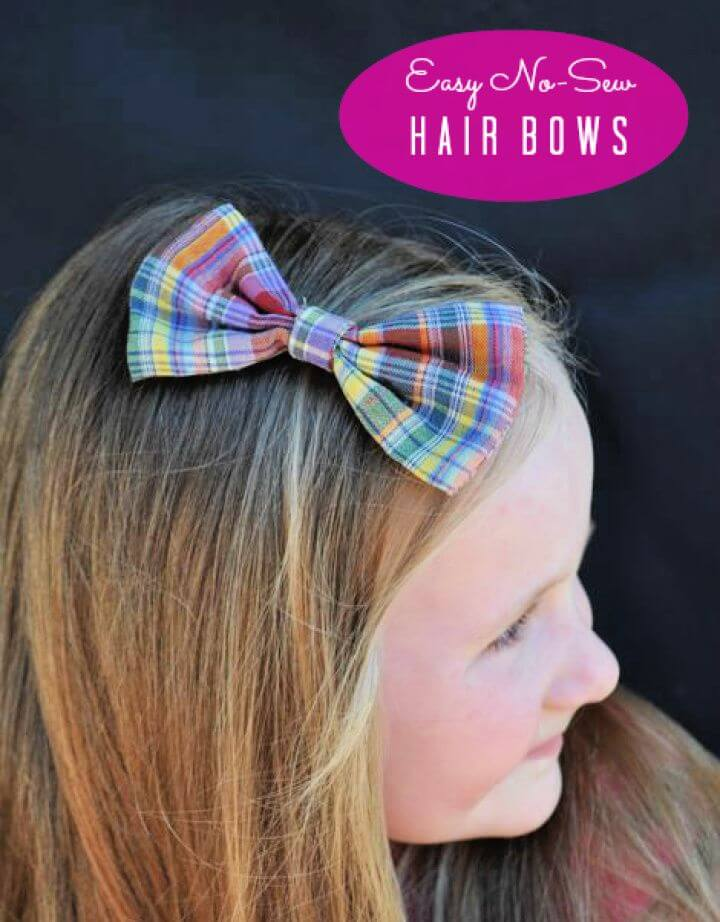 Cute DIY No Sew Bow Tie With Hair Bows