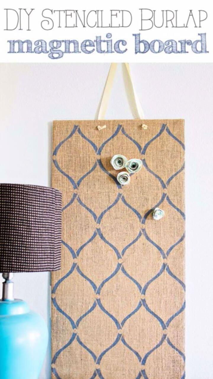 Cute DIY Stenciled Burlap Magnetic Board