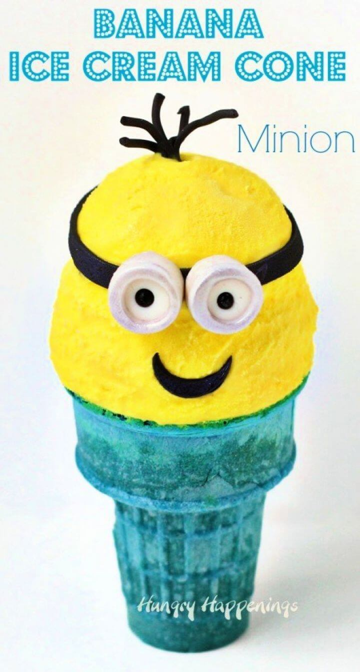 DIY Banana Ice Cream Cone Minions