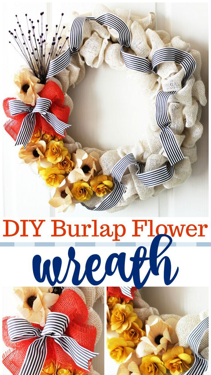 DIY Burlap Flower Wreath – Easy Fall Decor Idea