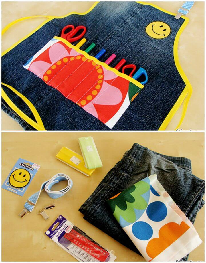DIY Childrens Apron For Handicrafts From Old Jean