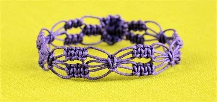 DIY Easy Square Knot Flower Bracelet