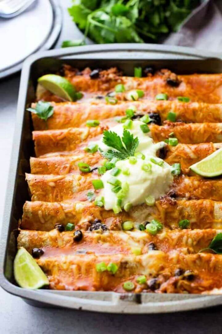 DIY Ground Turkey Black Bean Enchiladas 2