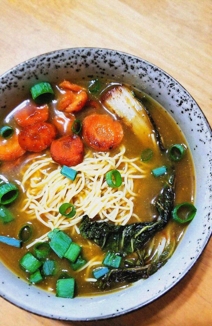 DIY Healthy Vegan Ramen With Caramelized Carrots And Bok Choy