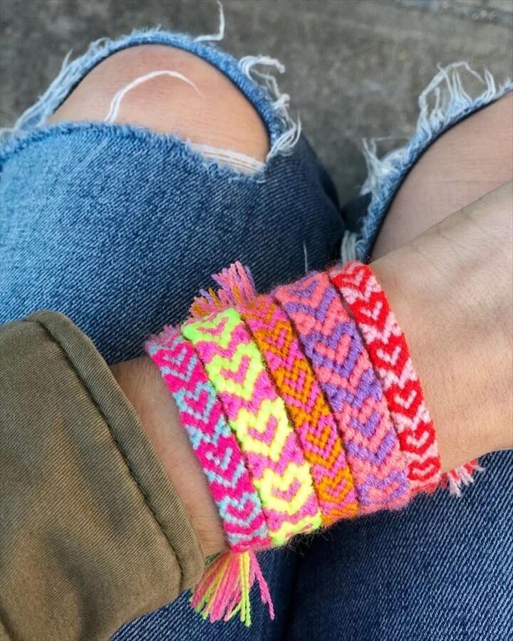 DIY Heart Friendship Bracelets Idea