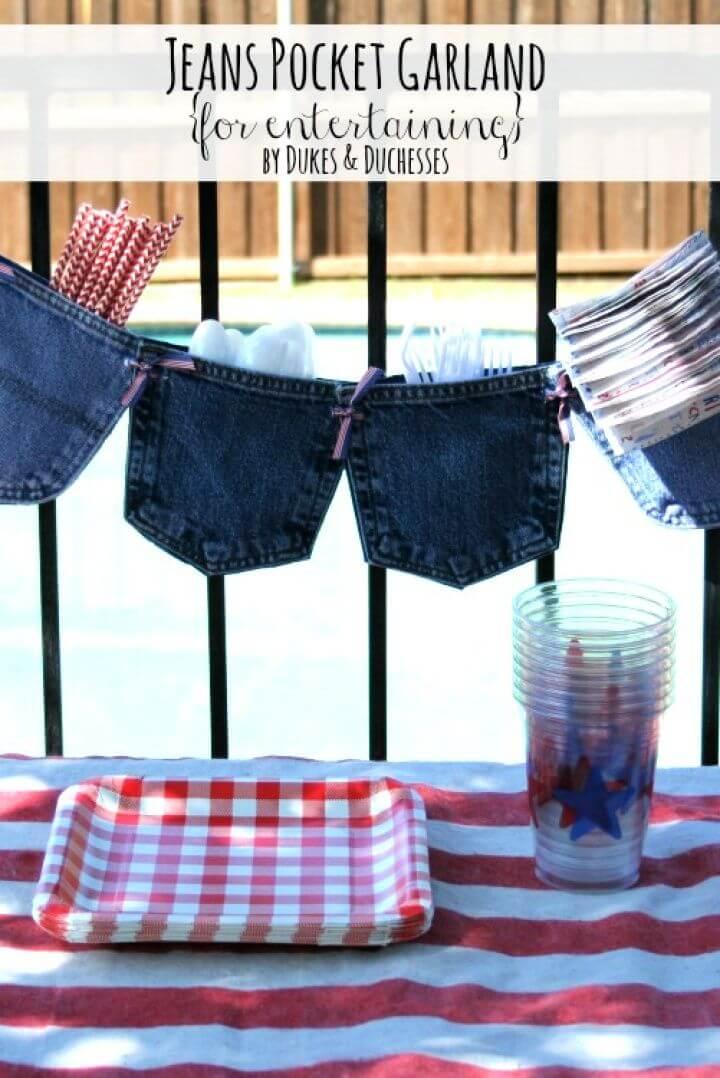 DIY Jeans Pocket Entertainment Organizer Garland