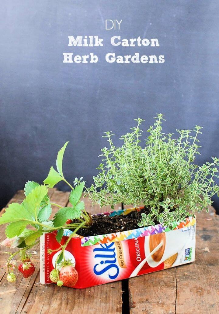 DIY Milk Carton Herb Gardens Tutorial