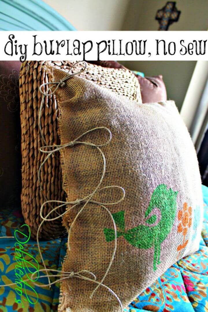 DIY No Sew Burlap Pillow Stenciled With Fabric Markers
