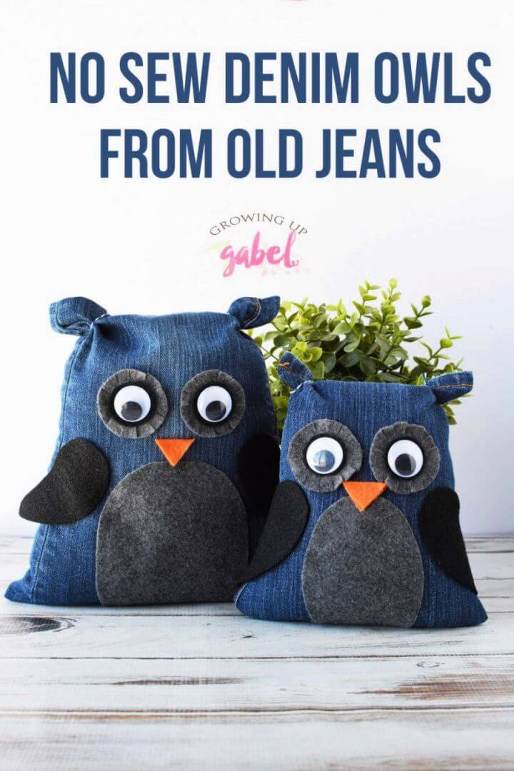DIY No Sew Denim Owls from Old Jeans