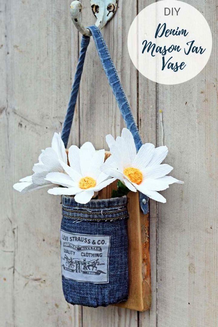 DIY Upcycled Jeans Mason Jar Wall Vase