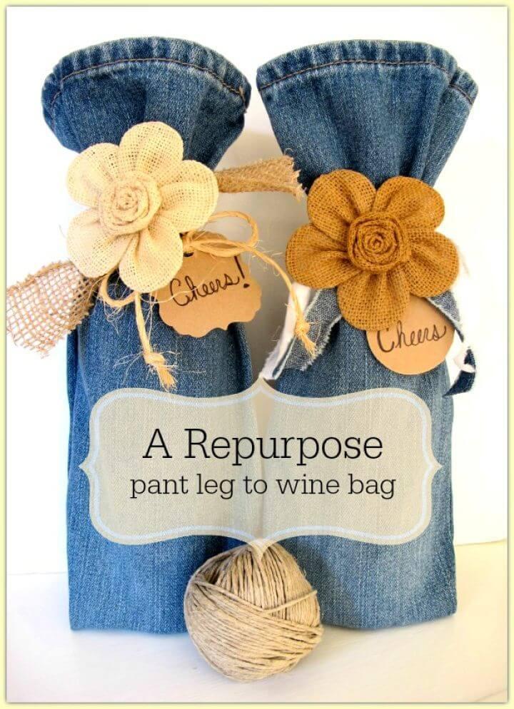 DIY Wine Bag Repurpose – From Pant Legs To Wine Bags