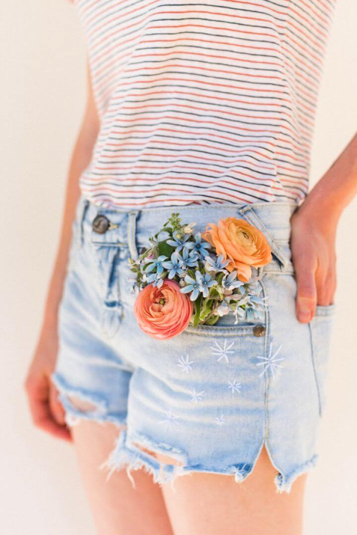 Easy DIY Firework Embroidered Jean Shorts Idea