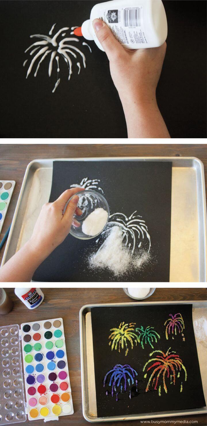 Easy DIY Firework Salt Painting For Kids