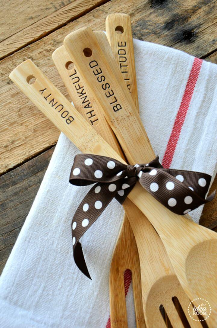 Easy DIY Hand Stamped Wooden Utensils