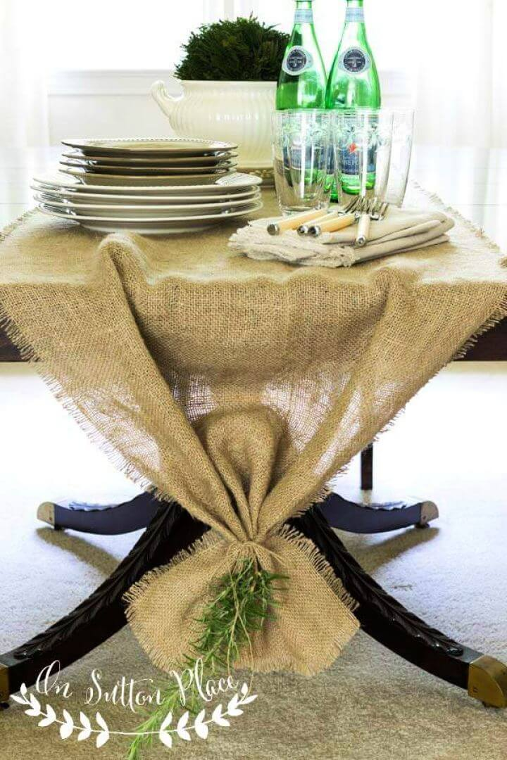 Easy DIY No Sew Burlap Table Runner