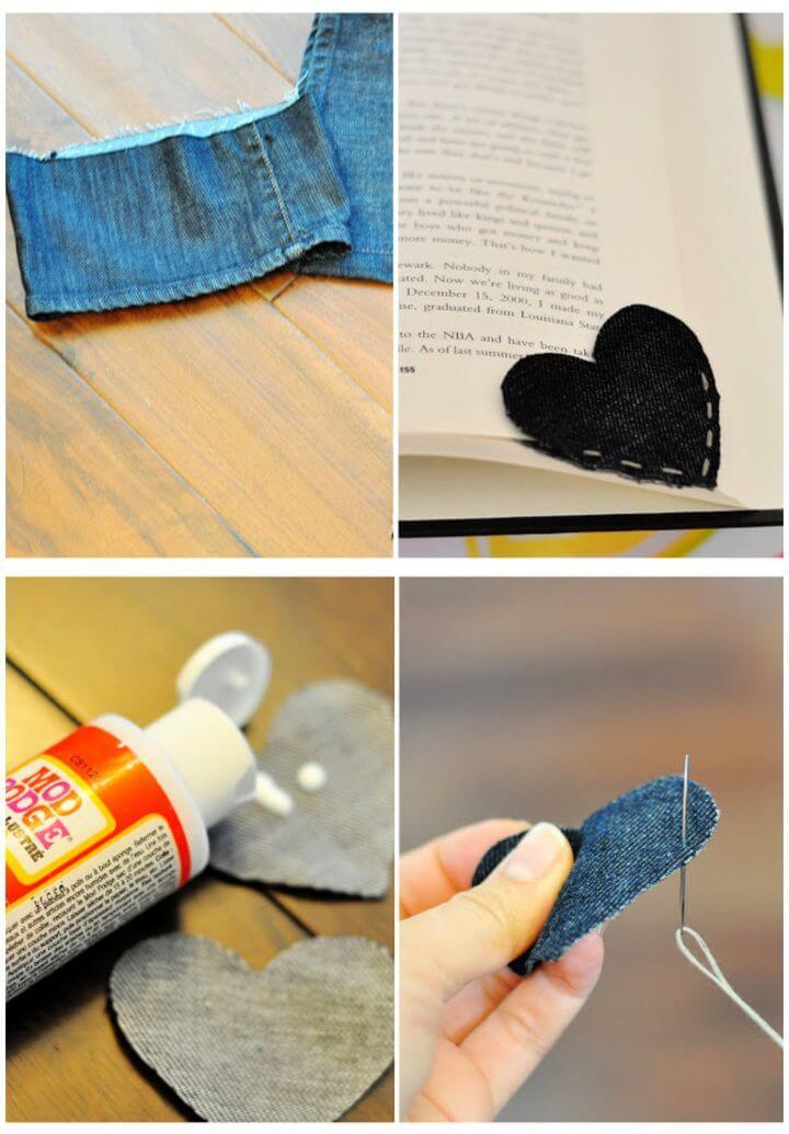 Easy DIY Old Denim Corner Heart Bookmark