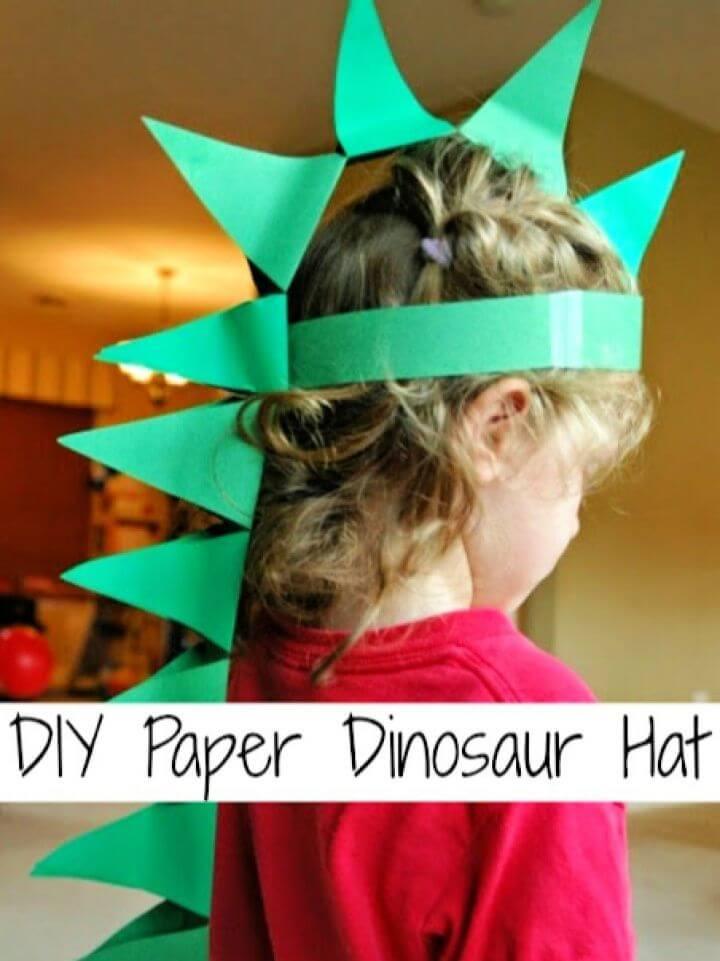 Easy DIY Paper Dinosaur Hat For Kids