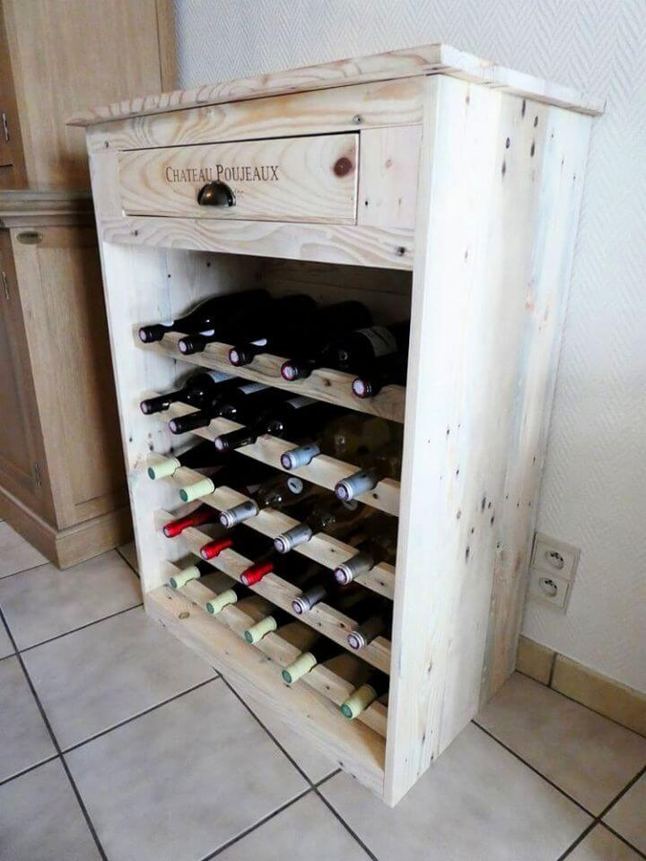 Easy DIY Recycled Pallet Wine Rack with Drawer