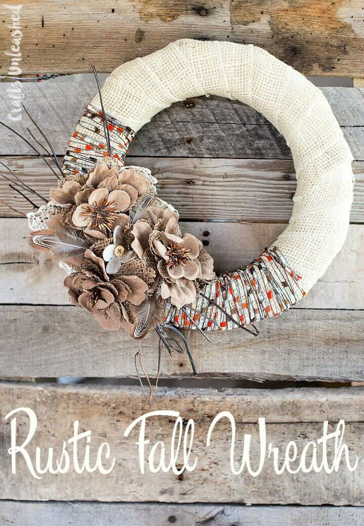 Easy DIY Rustic Burlap Yarn Fall Wreath