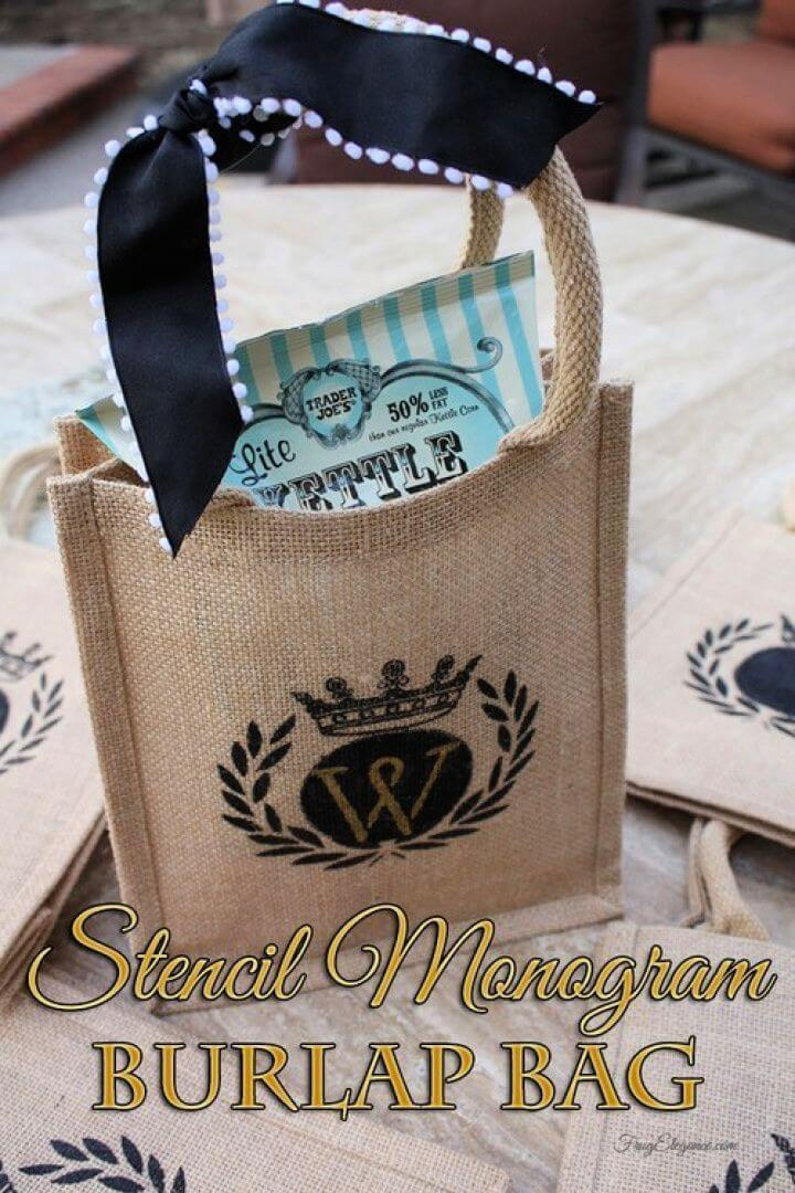 Easy DIY Stenciled Burlap Goodie Bags