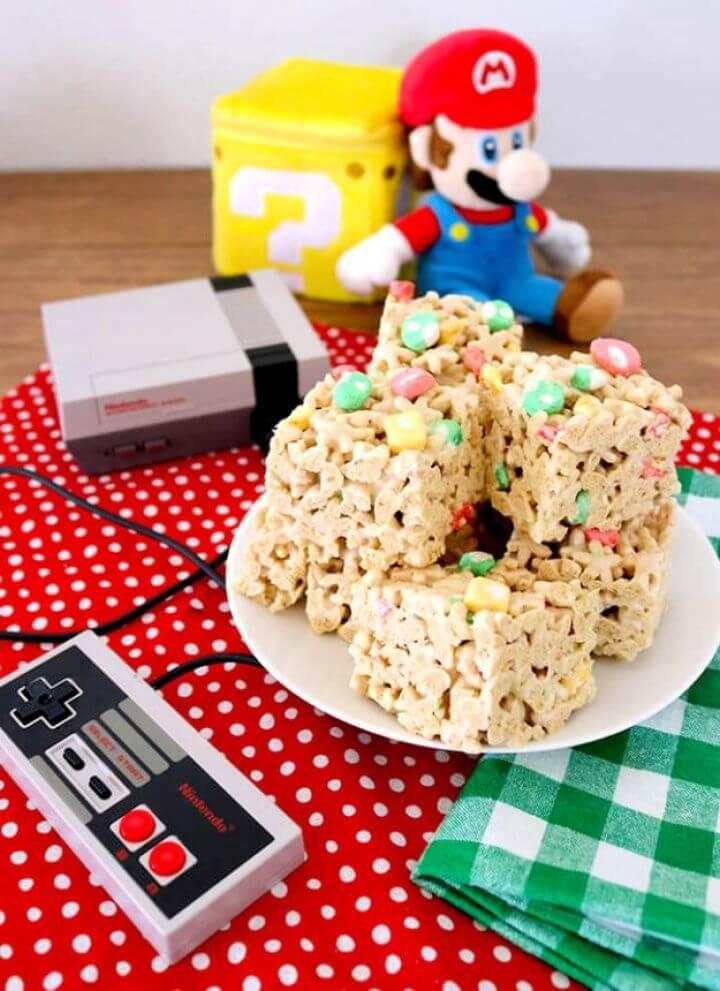 Easy Super Mario Cereal Bars