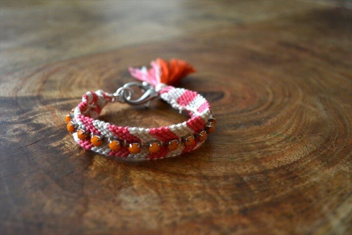 Friendship Bracelet With Rhinestones and Tassel