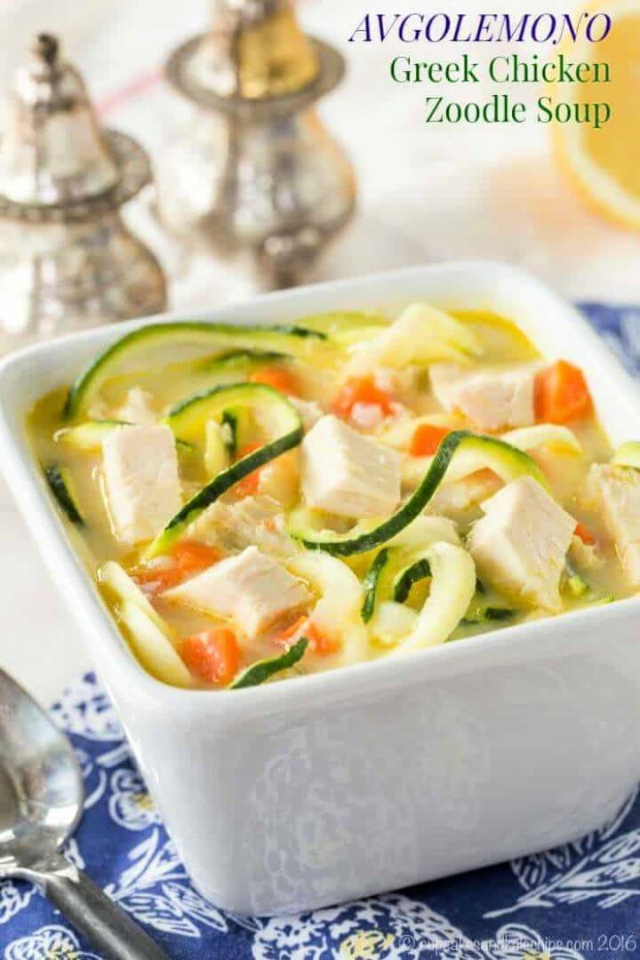 Greek Avgolemono Chicken Zoodle Soup