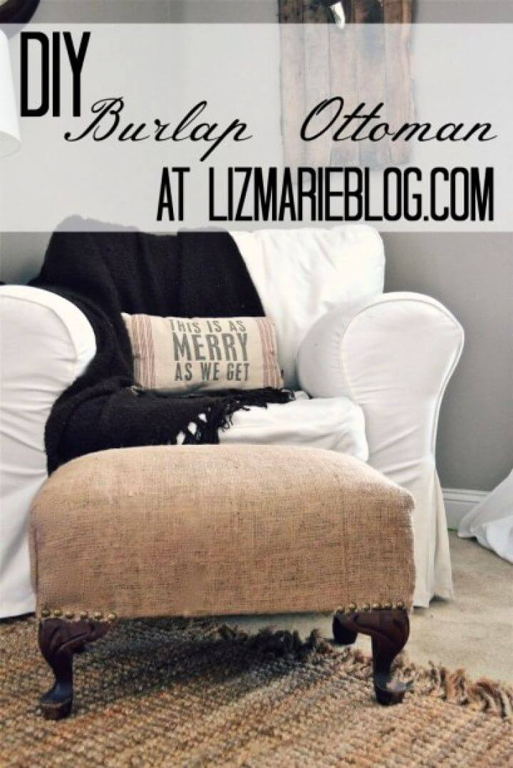 How To DIY Burlap Ottoman