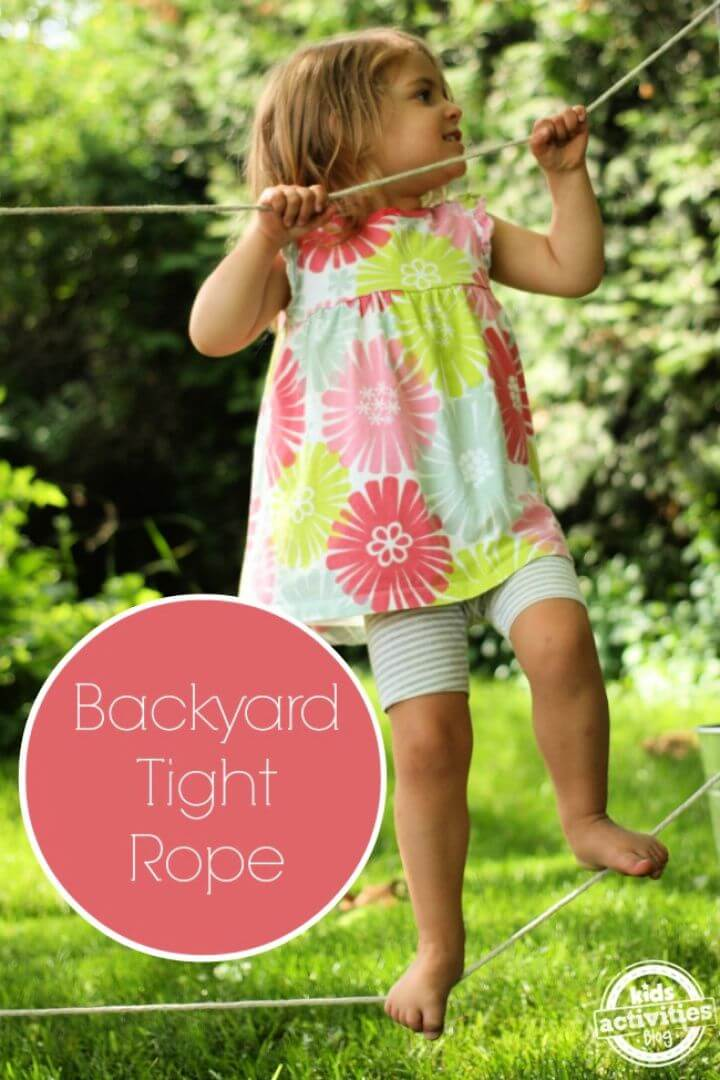 How To Make A DIY Backyard Tight Rope For Kids